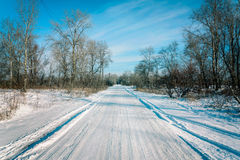 Road Covered by Snow Stock Photo