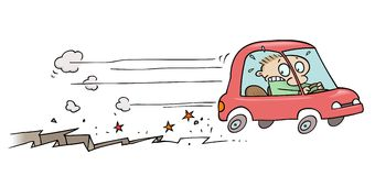 Road crack. Toon character driving his car away from a crack opening up below him vector illustration