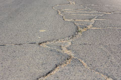 Road crack. Surface of concrete driveway with crack Royalty Free Stock Photography