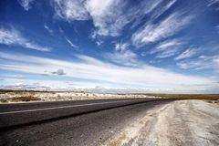 Road on cretaceous mountains Royalty Free Stock Images