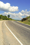 Road. Crimea. Road in Crimea, Ukraine with clouds and blue sky Royalty Free Stock Image