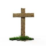 Road croos. Old wooden road  sign with  grass and stones Stock Image