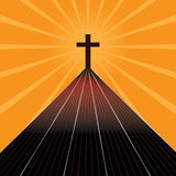 The road of cross. Illustration design abstract religion the road find cross stitch bright orange color background graphic template element Stock Photography