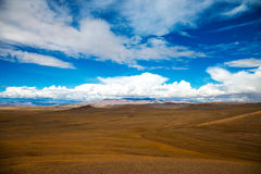 The road crosses the steppe royalty free stock photo