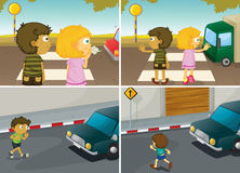 Road crossing stock illustration