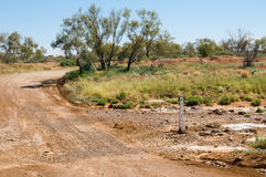 Road crossing a dry creek, Oodnadatta Track Stock Photography