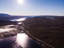 Road crossing Hardangervidda plateau, Norway. Aerial view