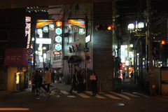 Road crossing and neon lights, Osaka Stock Photography