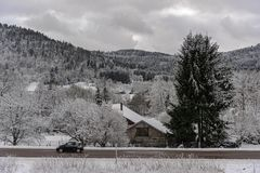 French Village road under the snow Stock Photography