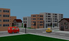 Road crossing with traffic lights, cars and houses. Stock Images