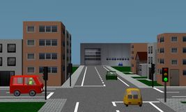Road crossing with traffic lights, cars, houses and factory. Stock Image
