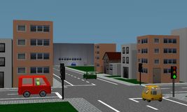 Road crossing with traffic lights, cars, houses and factory. Stock Photos