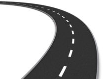Road curve. 3d illustration of asphalt road curve over white background Royalty Free Stock Photography