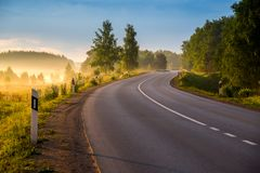 Free Road Curve At Sunrise Royalty Free Stock Images - 132516199