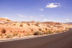 Road curve at the desert Stock Images