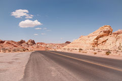 Road curve at the desert Stock Photos