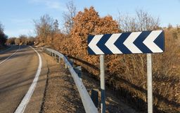 Road Curve Indicator with continuous line Royalty Free Stock Images