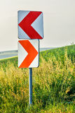 Road curve signs Stock Image