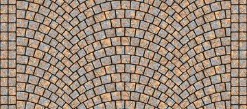 Road curved cobblestone texture 007. Cobblestone arched pavement road with edge courses at the sidewalk. Seamless tileable repeating 3D rendering texture Stock Images