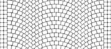 Road curved cobblestone texture 000 - bump map. Cobblestone arched pavement road with edge courses at the sidewalk. Seamless tileable repeating 3D rendering bump stock illustration