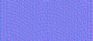 Road curved cobblestone texture 000 - normal map. Cobblestone arched pavement road with edge courses at the sidewalk. Seamless tileable repeating 3D rendering stock illustration