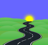 Road curves. Leading to the sun Stock Photos