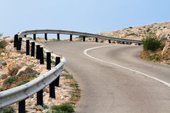 Road. With curves in Stara Baska Royalty Free Stock Photography