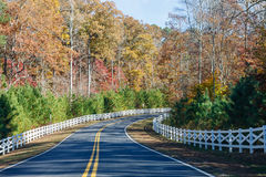 Road Curving Through Autumn Trees and White Fence Stock Photo