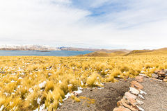 Road Cusco- Puno,Lake Titicaca, Peru,South America. Sacred Valley of the Incas. Spectacular  nature of snowy  mountains Stock Images