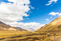 Road Cusco- Puno, Peru,South America. Sacred Valley of the Incas. Spectacular  nature of mountains Stock Photo