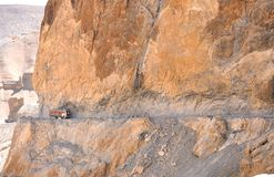 Road cut in a cliff Royalty Free Stock Images
