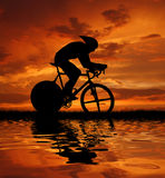 Road cycler. Silhouette in sunrise Stock Images