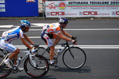 Road Cycling Championships. Cyclists in the Italian National Road Race Championship (called Settimana Tricolore) in Bergamo Stock Photos