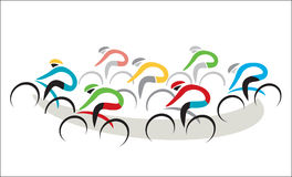 Road Cycling Competition. Stylized drawing of cycling race, on the white background. Vector available royalty free illustration