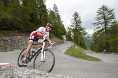 Road cycling downhill. Cyclist dby downhill with road bike Royalty Free Stock Photo