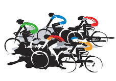 Road cycling racers. stock illustration
