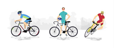 Road cycling sport. Silhouettes of athletes on bicycles vector illustration