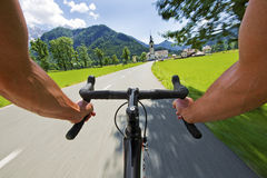Road cycling. Wide angle speed shoot Royalty Free Stock Image
