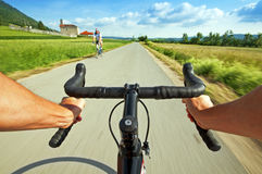 Road cycling. Wide angle speed shoot Royalty Free Stock Photo