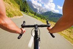 Road cycling. Wide angle speed shoot Royalty Free Stock Photography