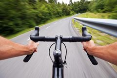 Road cycling concept stock photo with hands stock photo