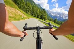 Road cycling in nature stock photography