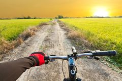 Road cycling wide angle speed shoot Royalty Free Stock Images
