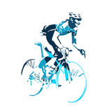 Road cyclist abstract blue vector silhouette Royalty Free Stock Images