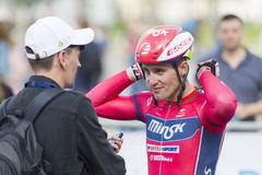 Road Cyclist Evgeny Korolek Poses as a Winner of the International Road Cycling Competition Stock Photos