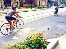 Road cyclists in Roncesvalles, Toronto stock image