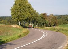 Road in the Czech villiage stock photo