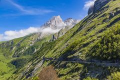 Mountain road D918 France, French Pyrenees. Road D918 Col Aubisque, French Pyrenees. From Eaux-Bonnes to Gourette Royalty Free Stock Photos