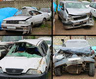 Road damage 1. The Photographies on which several damaged machines after road damage Stock Photo