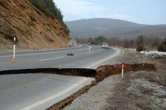 Road damage by flood,landslide Stock Images